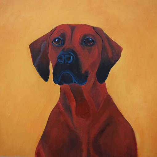 Kobayashi Maru. Portrait of my beloved Rhodesian Ridgeback | 24 x 24 Acrylic on wood panel