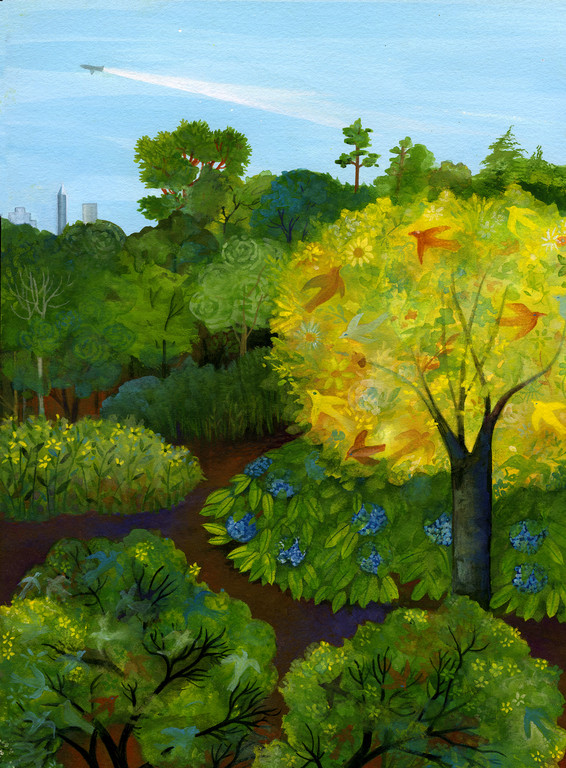 City View / client: Atlanta Botanical Gardens / gouache on panel