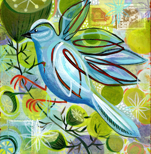 Bluebird Crush | 8 x 8 Acrylic and postal stamps on wood panel