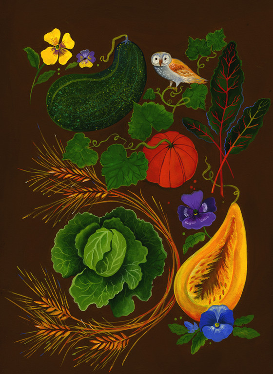 Fall Edible Garden / client: Atlanta Botanical Gardens / gouache on panel