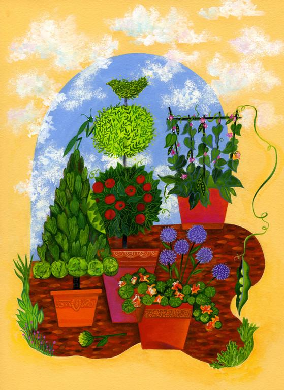 Summer Edible Garden / client: Atlanta Botanical Gardens / gouache