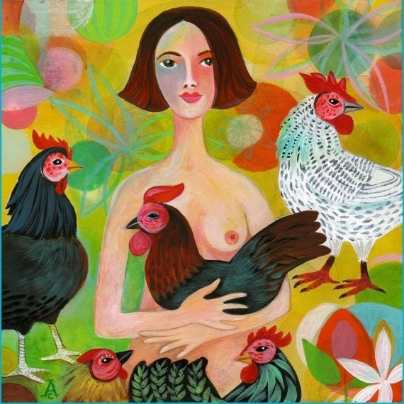 The Chicken Lover | 12 x 12 acrylic on wood panel