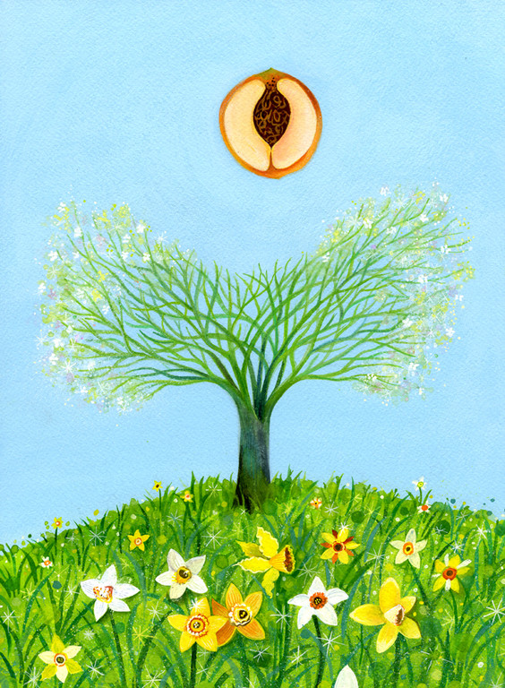 Peach Tree and Jonquils / client: Atlanta Botanical Gardens / gouache