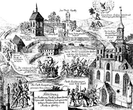 Darstellung des Prozessionsweges in Görlitz, 1719