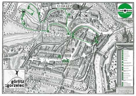 Für den Geh-Hör-Gänger unterwegs:Historische Karte (17. Jh.) mit eingezeichnetem Weg