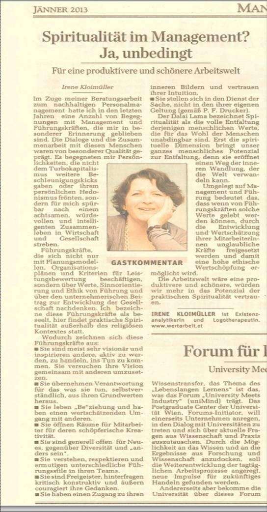 derStandard 19.01.2013, Dr.in Irene Kloimüller MBA, www.wertarbeit.at