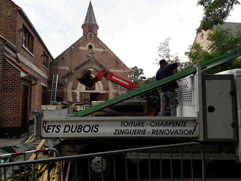 La chapelle de Profondsart, travaux de toiture exécutés par les Ets Dubois de Limal