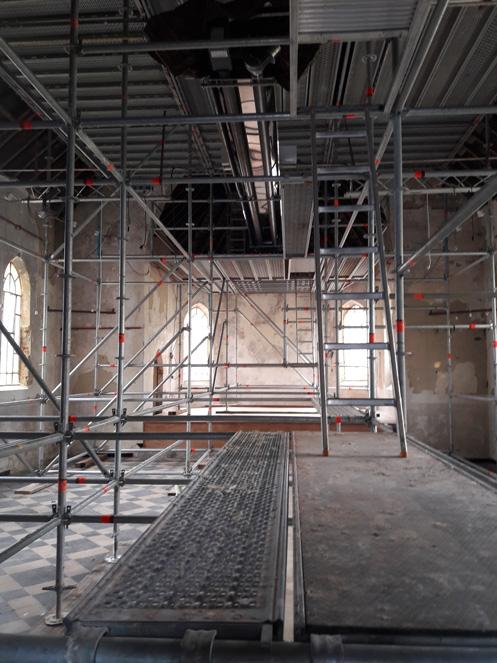 9/07/2020 La chapelle de Profondsart, pose des échafaudages