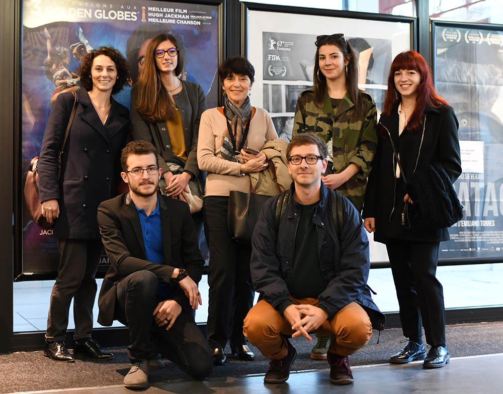 Monique Plasseraud et les étudiants en langue italienne de l'Université Bordeaux Montaigne