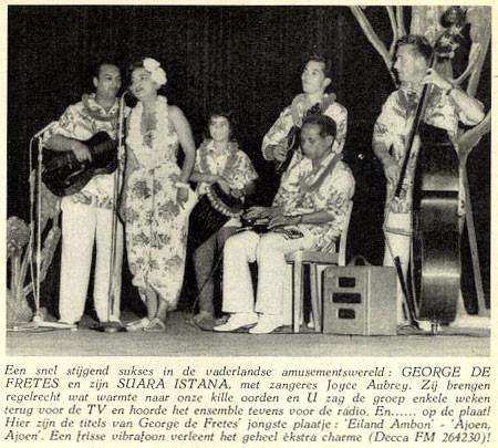 Uit de TUNEY TUNES van februari 1959 vlnr: Bill Toma - Joyce Aubrey - Wanda - George de Fretes - Eddie Scipio Blume - Fred Hoogduin