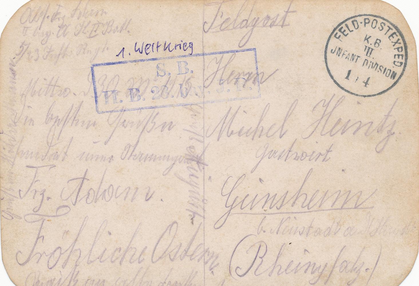 Feldpost von Franz Adam an Michel Heintz