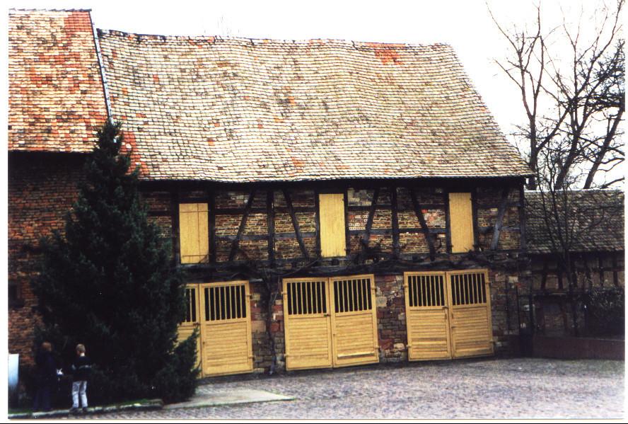 Anbau Fronmühle, Holzpfosten teilweise von altem Rathaus