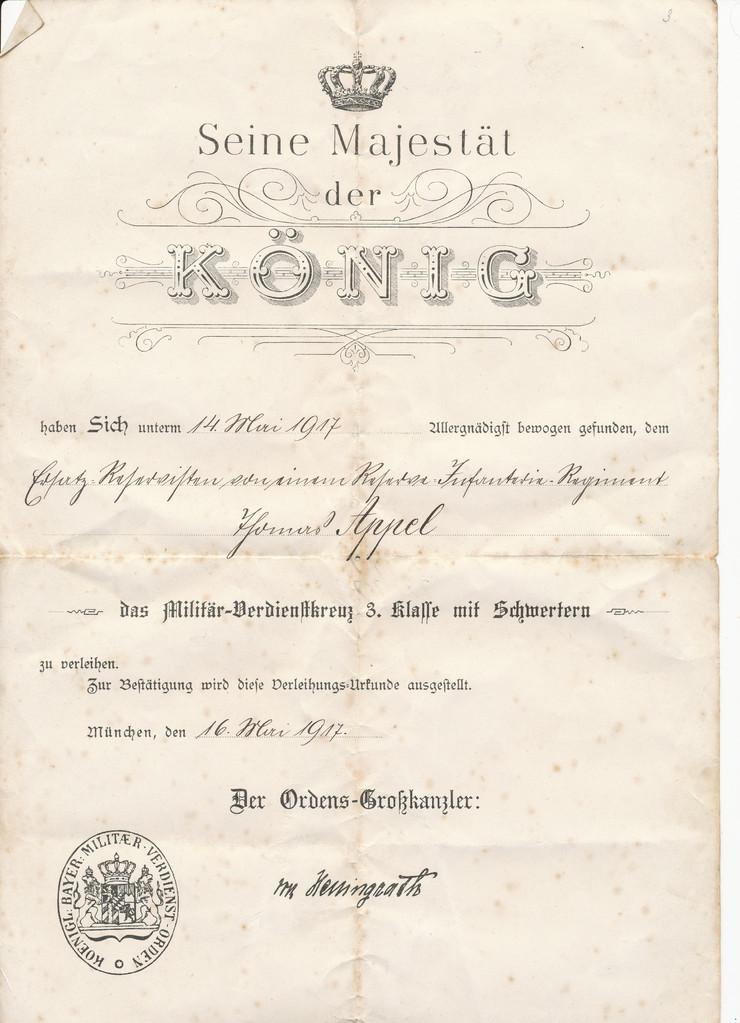 Verdienstkreuz 3. Klasser an Thomas Appel 1917