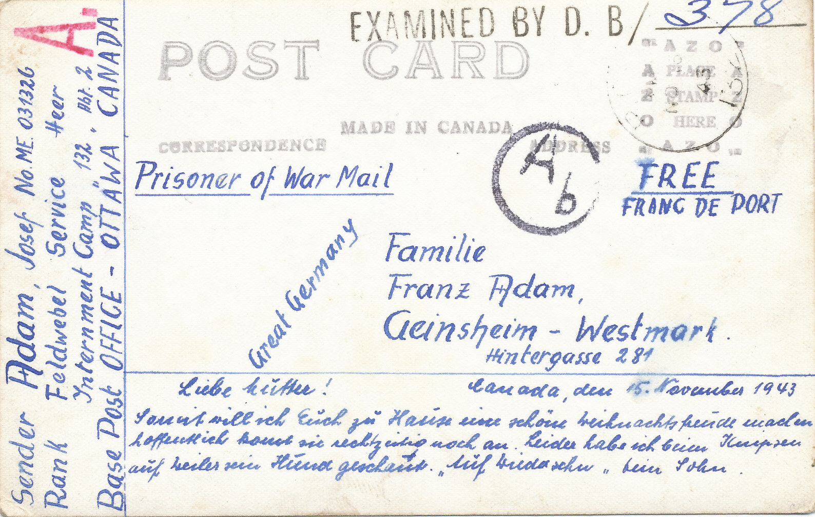 Postkarte Kriegsgefangene in Kanada