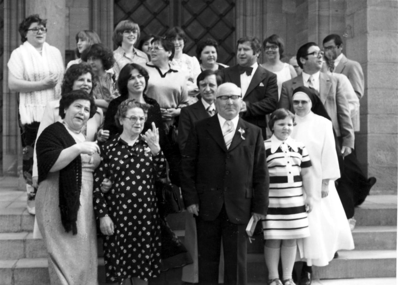 Goldene Hochzeit Schaaf Alois und Familie; Schwester Philomena (Maria Katharina)