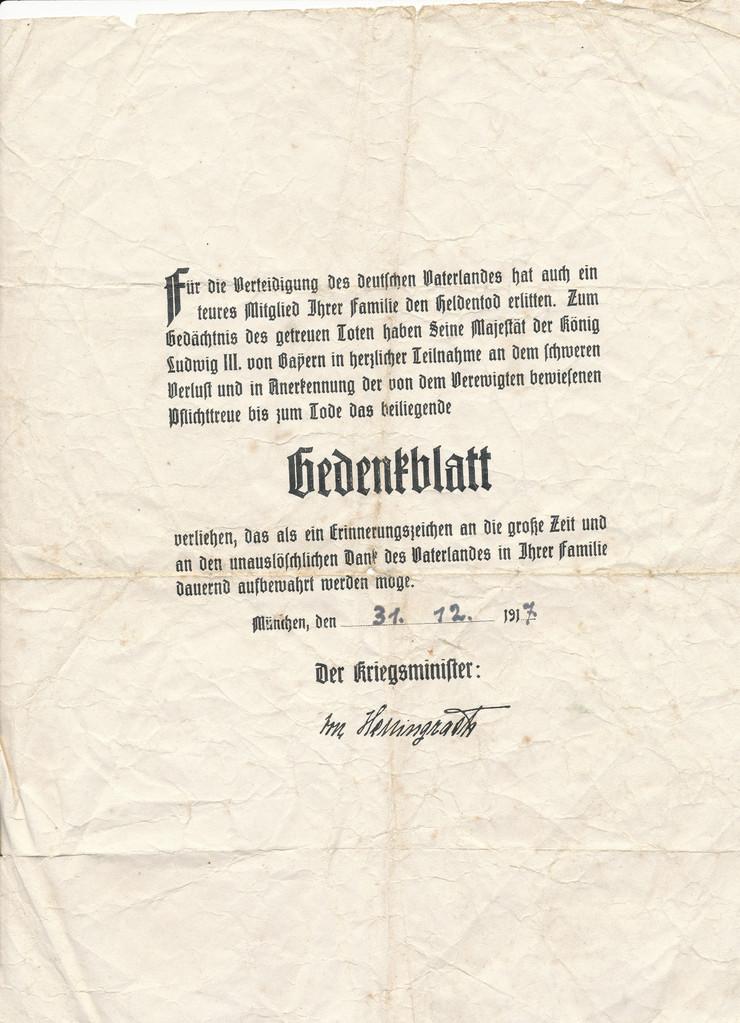 Gedenkblatt für Heldentod 1917