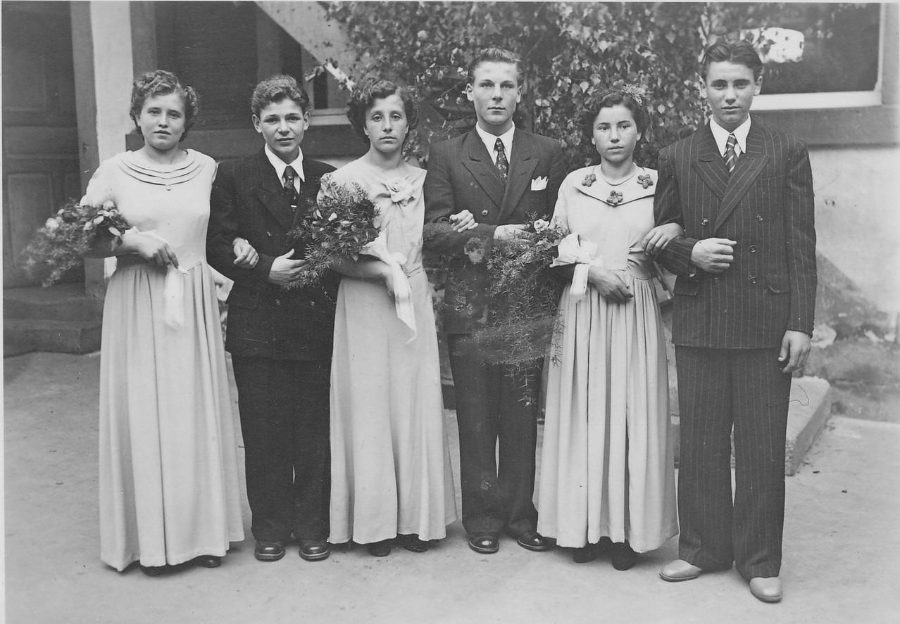 Tanzkränzel Jahrgang 1933 bis 1934 mit Lydia Linnenfelser, Werner Ohmer, Erika Gruber, Walter Maurer, Adelhilde Rohr und Hermann Kaufmann