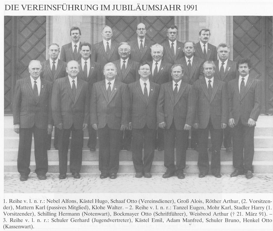 Die Vorstandschaft im Jubiläumsjahr 1991