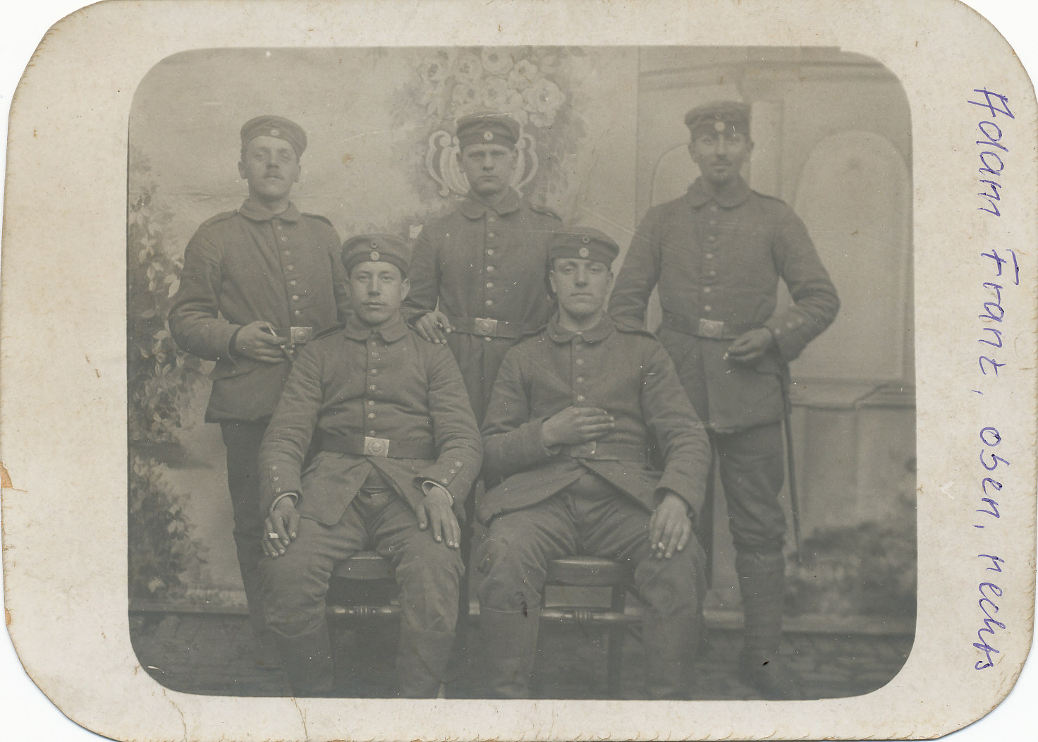Adam Franz im I. Weltkrieg, oben rechts