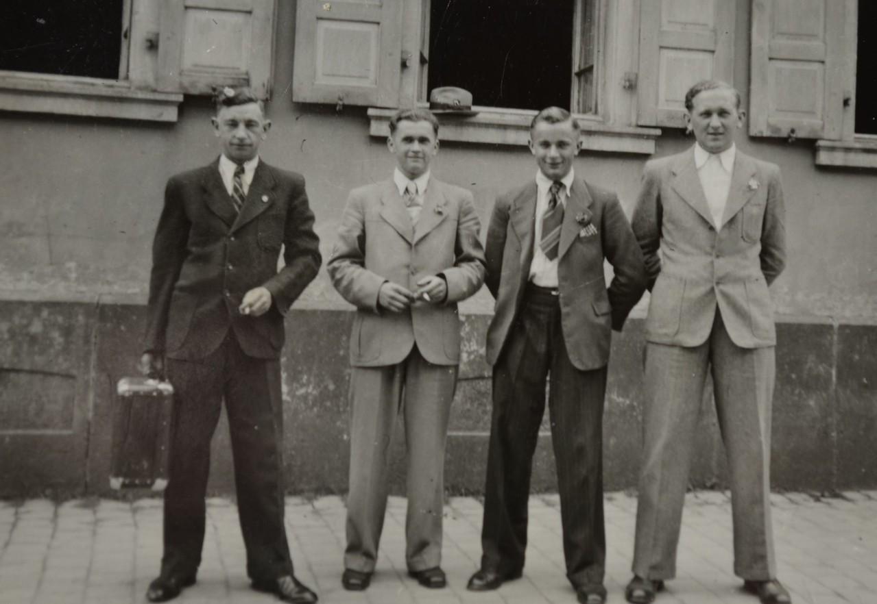 v.r. Otto Weber, Ludwig Sprißler, Willi Hoffmann und ...
