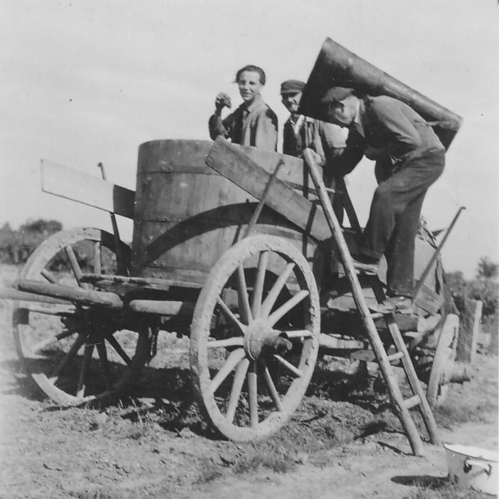 Herbstwagen kurz nach II. Weltkrieg mit Anton Adam mit Logel und Helfern