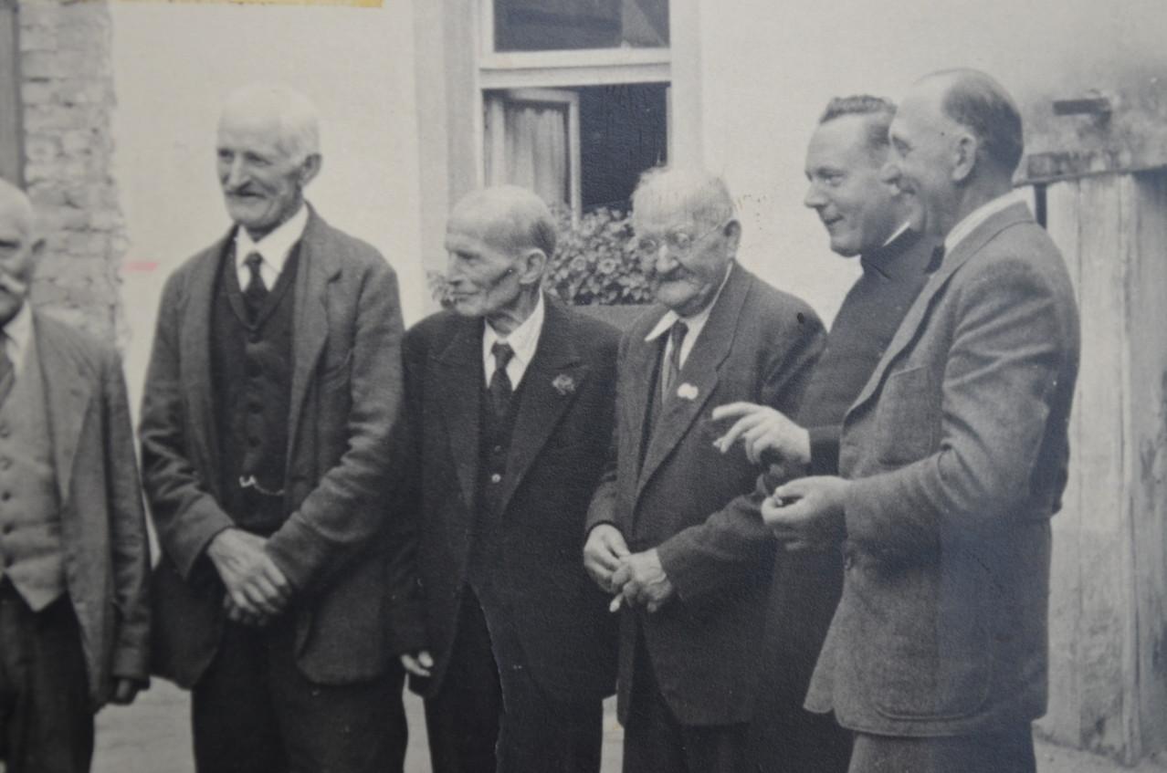 Altentreffer mit Adam Becker, Franz Rößler, Rudolf Eberley und Pfarrer Rieder