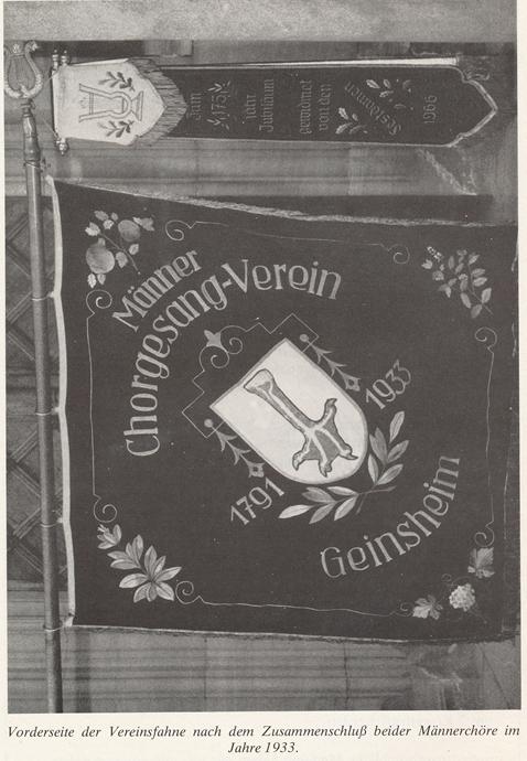 Vorderseite der Vereinsfahne nach Zusammenschluss beider Männerchöre 1933