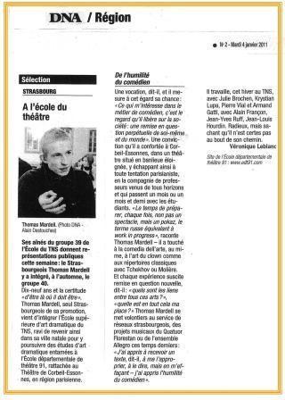 DNA - Les dernières nouvelles d'Alsace - janvier 2011