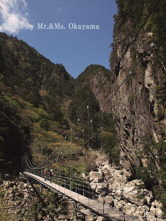 平等嵓(ぐら)と吊橋:大杉谷中最大の吊橋