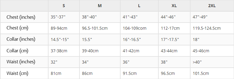 Size table for t-shirts