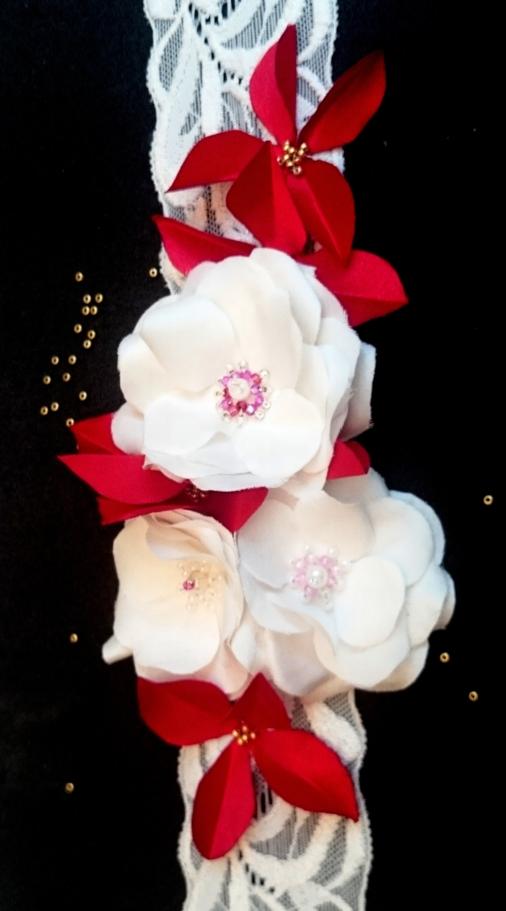 fleur en tissu de soie , création brodée, réalisée par Maria Salvador