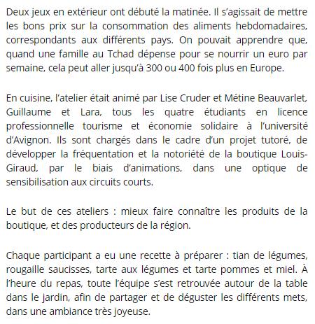 Le Dauphiné Libéré (Vaucluse Matin), le 9 mars 2018