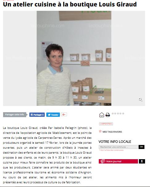 Le Dauphiné Libéré (Vaucluse Matin), le 7 mars 2018