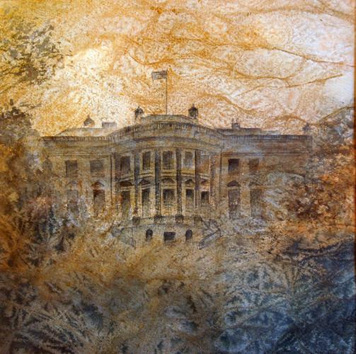 Maraña de poder II  (la Casa Blanca) 2010, acuarela 26X28cm