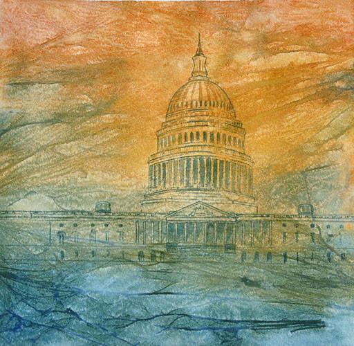 Maraña de poder V (Capitolio-USA)  2011, acuarela 26X28cm