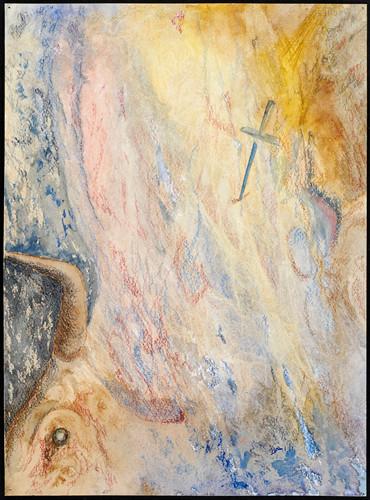 Toro y cruz 2007, acuarela y lápices de colores 35.5X25.5 cm