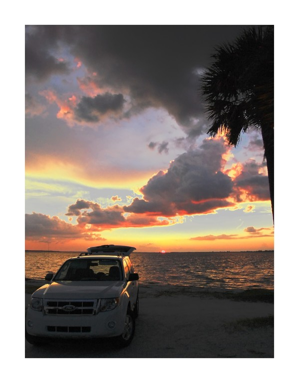 Sunset at picnic area on Sanibel Island Causeway