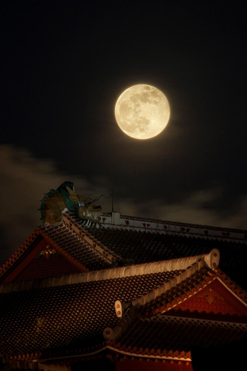 沖縄写真 首里城 スーパームーン 2013