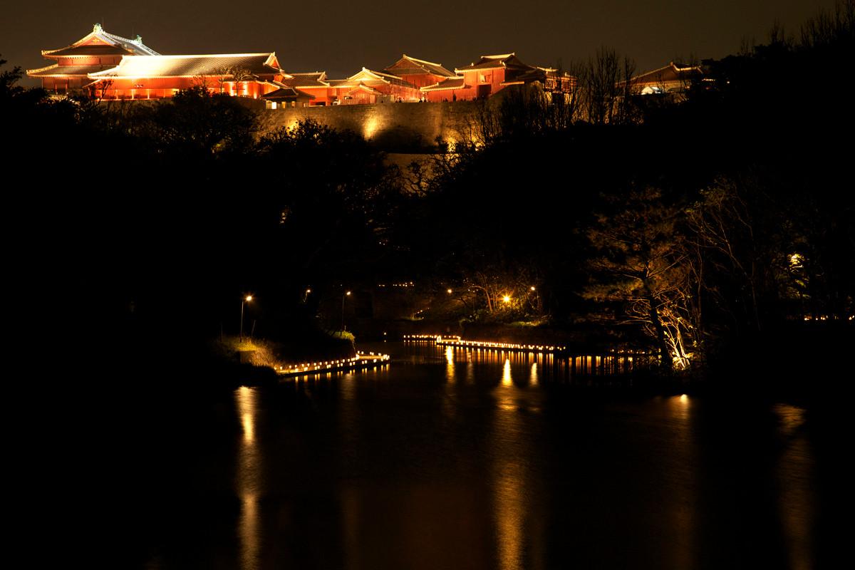 沖縄写真 首里城跡 夜景 沖縄の世界遺産