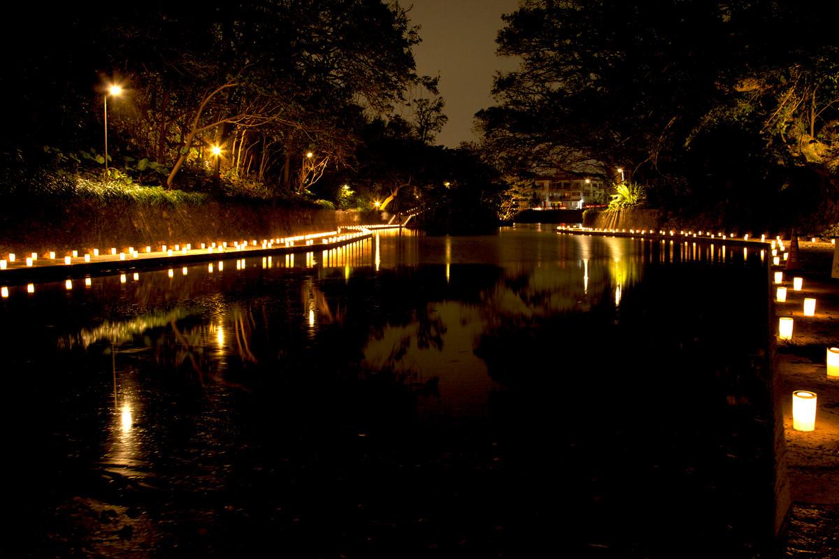 沖縄写真 首里城 龍譚池 夜景