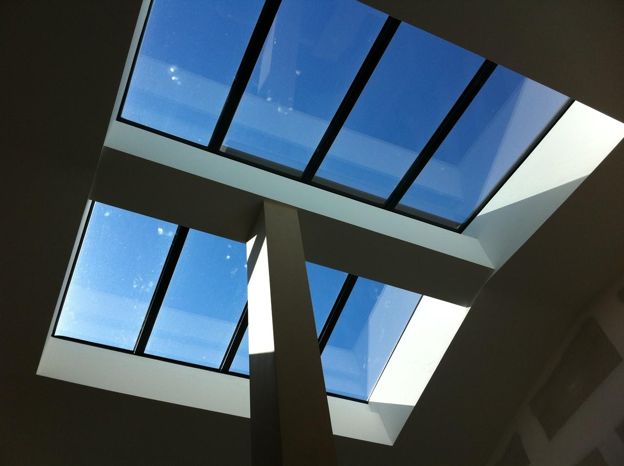 rénovation d'une verrière acier : agrandissement + vitrage SUN COOL LITE