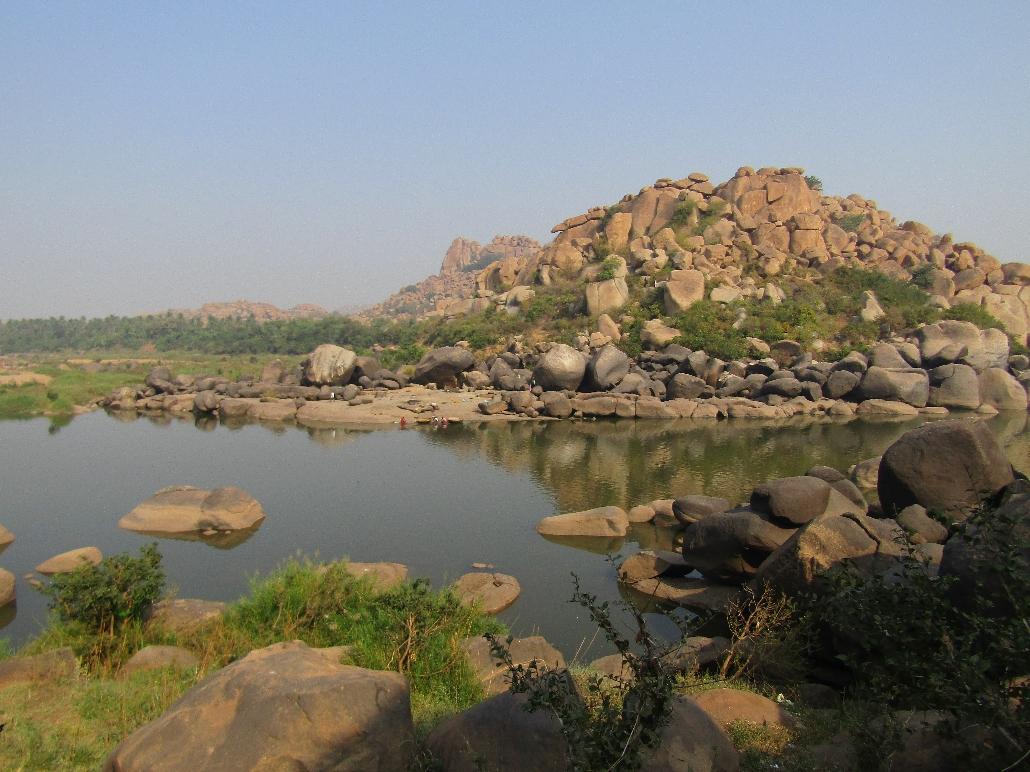 Fluss Tungabhadra in Hampi