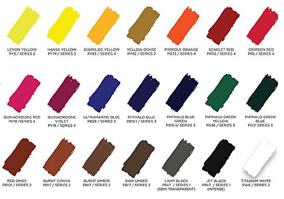 AKUA-Kolor / Liquid Pigments Farbtabelle