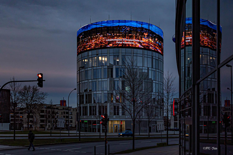 Newswall am Funke-Tower in Essen mit meinem Foto vom Rangierbahnhof Hagen-Vorhalle