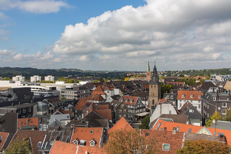 Blick vom St. Georgsturm auf die Hattinger Nordstadt