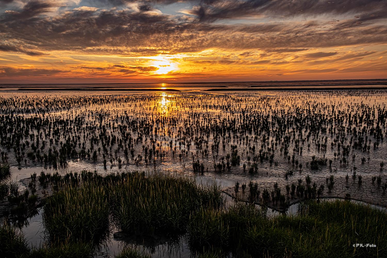 Sonnenuntergang an der Westseite von Norddeich