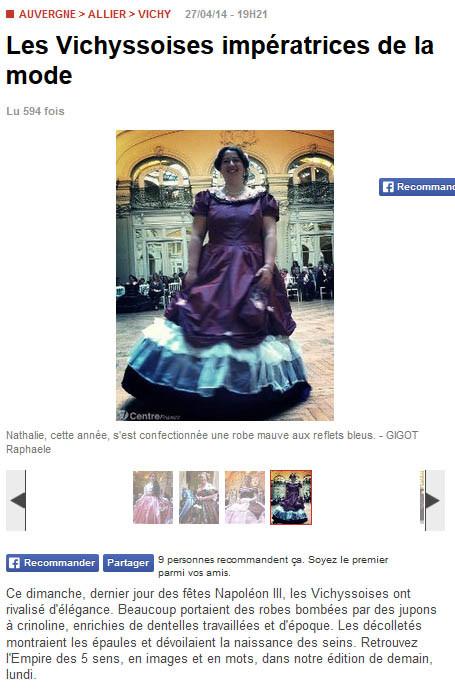 Article de journal La Montagne avril 2014 - Fêtes Napoléon III à Vichy - couture - robe - impératrice de la mode - Nathalie Navarro Créations