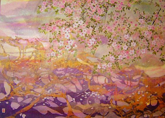 和紙絵・和紙コラージュ・桜
