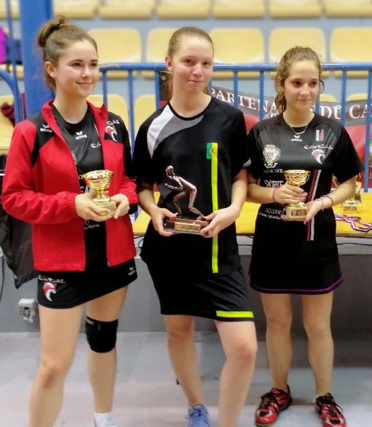 Le podium du challenge féminin départemental, catégorie minimes-cadettes.
