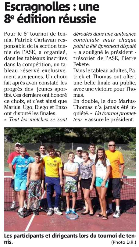 L'article de Nice Matin sur le tournoi de tennis 2015